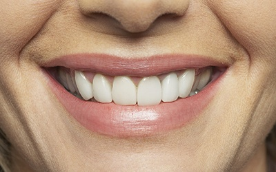 Closeup of healthy gums and beautiful smile